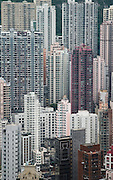 Apartments on Hong Kong Island, which has a population of 1.3 million. Hong Kong, China, 2004