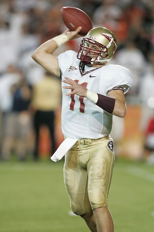 Florida State Seminoles quarterback Drew Weatherford drops back to pass during FSU's 13-10 victory over the Miami Hurricanes on September 4, 2006 at the Orange Bowl Stadium in Miami, Florida.