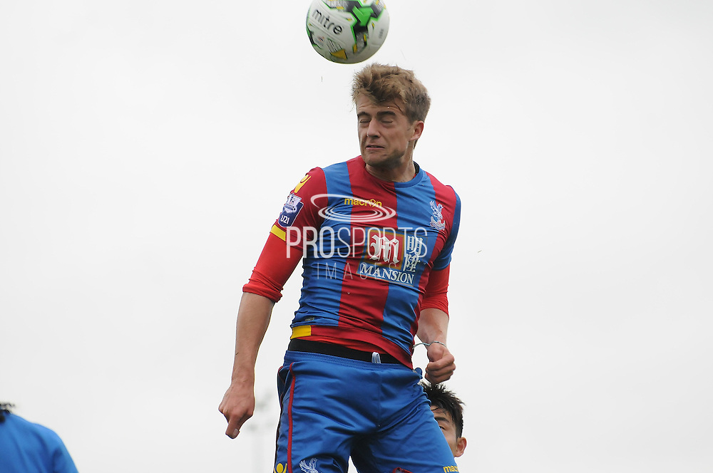 Patrick Bamford with the header during the U21 Professional Development League match between U21 QPR and U21 Crystal Palace at the Loftus Road Stadium, London, England on 31 August 2015. Photo by Michael Hulf.