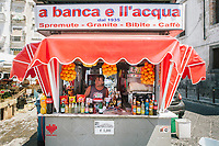 NAPLES, ITALY - 13 JULY 2017: A view of Pasquale Esposito's kiosk by Porta Capuana in Naples, Italy, on July 13th 2017.