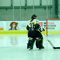 3rd year goalie Jane Kish (31) of the Regina Cougars in action during the Women's Hockey Home Game on October 21 at Co-operators Arena. Credit Matt Johnson/©Arthur Images 2017