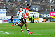 Tristan Abrahams (19) of Exeter City celebrates what he thought was a goal but it was ruled out after the referee consulted the assistant during the EFL Sky Bet League 2 match between Exeter City and Grimsby Town FC at St James' Park, Exeter, England on 29 December 2018.