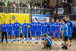 Slovenian team during anthem ceremony before friendly handball match between Slovenia and Nederland, on October 25, 2019 in Športna dvorana Hardek, Ormož, Slovenia. Photo by Blaž Weindorfer / Sportida
