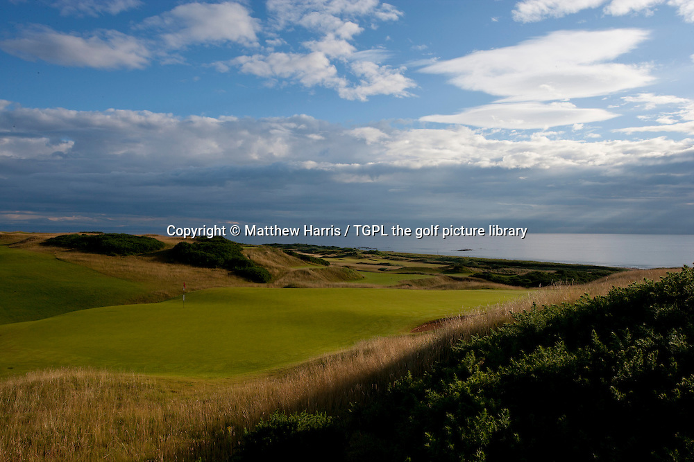 View from behind 18th par 4 green at Kingsbarns Golf Links during summer,Kingsbarns,Fife,Scotland.