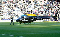Photo: Steve Bond/Richard Lane Photography. Leicester City v West Bromwich Albion. Coca Cola Championship. 07/11/2009. Delivering the match balll by helicopter