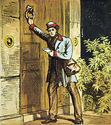 The Postman's Knock. Postman in Royal Mail uniform using door knocker. Chromolithograph from children's book published 1867.