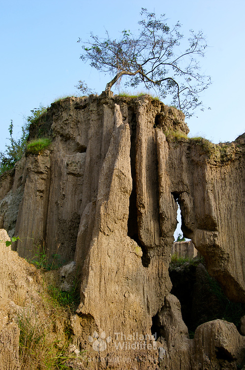 Pong Yup at Tambon Tha Khoei, Ratchauri, Thailand. These strange looking earthen pillars and cliffs naturally created by soil erosion.
