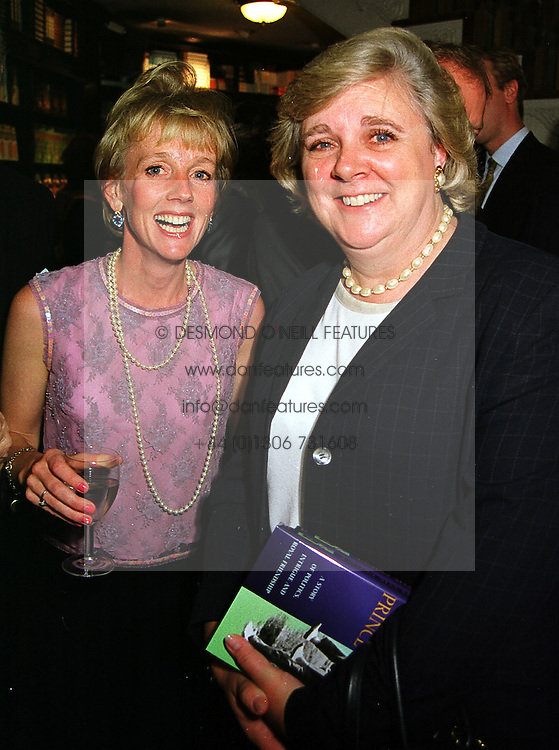 Left to right, MRS JAMES LONSDALE and MISS ANNE BECKWITH-SMITH both former Lady in Waitings to Diana, Princess of Wales, at a party in London on 14th September 1999.MWH 58