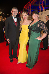 CAMILLA KERSLAKE and her parents GREG & DEBORAH KERSLAKE at the Battersea Dogs & Cats Home's Collars & Coats Gala Ball held at Battersea Evolution, Battersea Park, London on 12th November 2015.