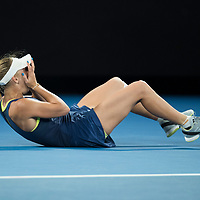 Caroline Wozniacki of Denmark at match point after winning the women's singles championship match during the 2018 Australian Open on day 13 in Melbourne, Australia on Saturday night January 27, 2018.<br /> (Ben Solomon/Tennis Australia)