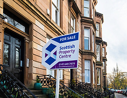 For sale sign on Queens Drive in Queens Park district of Glasgow, Scotland, United Kingdom
