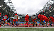 Tampa Bay Buccaneers warm up ahead of the NFL International Series game against Carolina Panthers at Tottenham Hotspur Stadium, Sunday, Oct. 13, 2019, in London.  The Panthers defeated the Buccaneers 37-26. (Gareth Williams/Image of Sport)