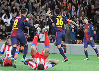 16.12.2012. Barcelona, Spain. La Liga day 16. Picture show Sergio Busquets after scoring during game FC Bracelona against Atletico Madrid at Camp Nou