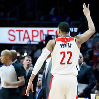 09 December 2017: Washington Wizards forward Otto Porter Jr. (22) celebrates during the LA Clippers 113-112 victory over the Washington Wizards, at the Staples Center, Los Angeles, California, USA.