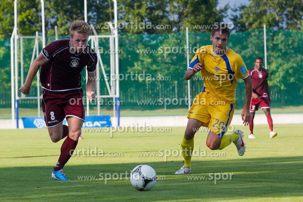 Jelar Anze of NK Triglav & Balkovec Jure of NK Domzale during football match between NK Triglav Kranj and NK Domzale, 5th Round of Prva Liga, on 12 August, 2012, in Sportni center, Kranj, Slovenia. (Photo by Grega Valancic / Sportida)