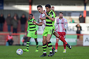 Forest Green Rovers Omar Bugiel(11) is first to the ball during the EFL Sky Bet League 2 match between Stevenage and Forest Green Rovers at the Lamex Stadium, Stevenage, England on 21 October 2017. Photo by Adam Rivers.