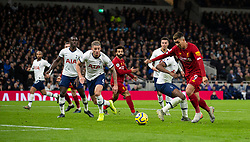 LONDON, ENGLAND - Saturday, January 11, 2020: Liverpool's Roberto Firmino turns inside four Tottenham Hotspur players before scoring the winning goal during the FA Premier League match between Tottenham Hotspur FC and Liverpool FC at the Tottenham Hotspur Stadium. Liverpool won 1-0. (Pic by David Rawcliffe/Propaganda)