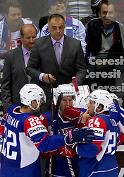 Matjaz Kopitar, head coach of Slovenia, Marcel Rodman of Slovenia, Robert Sabolic and Rok Ticar of Slovenia during ice-hockey match between Slovakia and Slovenia of Group A of IIHF 2011 World Championship Slovakia, on April 29, 2011 in Orange Arena, Bratislava, Slovakia. Slovakia defeated Slovenia 3-1. (Photo By Vid Ponikvar / Sportida.com)