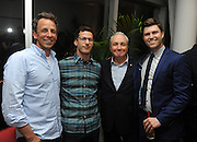 Seth Meyers, left, and Andy Samberg, second left, join producer Lorne Michaels and screenwriter Colin Jost, right, at the Staten Island Summer movie premiere after party at The Standard, East Village, Tuesday, July 21, 2015, in New York. The new comedy debuts on Netflix on July 30, 2015 and is available for Digital download. (Photo by Diane Bondareff/Invision for Paramount Pictures/AP Images)