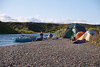 Camping, Pegati Lake, Headwaters of the Kanektok River..shot in Alaska, USA..