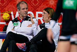 08-12-2019 JAP: Netherlands - Germany, Kumamoto<br /> First match Main Round Group1 at 24th IHF Women's Handball World Championship, Netherlands lost the first match against Germany with 23-25. / Henk Groener en Debby Klein