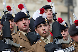© Licensed to London News Pictures. 05/09/2018. London, UK.  Over 500 serving and retired personnel from the Royal Regiment of Fusiliers take part in a privilege parade to commemorate the Regiment's 50th anniversary. Privileges allow the Regiment to exercise its right to march through the City of London with drums beating, colours flying and bayonets fixed in a parade from the Tower of London in Tower Hamlets to the Guildhall in the City of London.  Photo credit: Vickie Flores/LNP