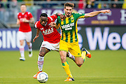 DEN HAAG - 21-04-2016, ADO Den Haag - AZ, Kyocera Stadion, 1-2, AZ speler Ridgeciano Haps, ADO Den Haag speler Edouard Duplan.