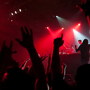 March 28, 2012 - New York, NY : Fans wave their arms as they dance while British dubstep music producers (DJ's) Skream & Benga perform at the Best Buy Theater in Manhattan on Wednesday evening. CREDIT: Karsten Moran for The New York Times