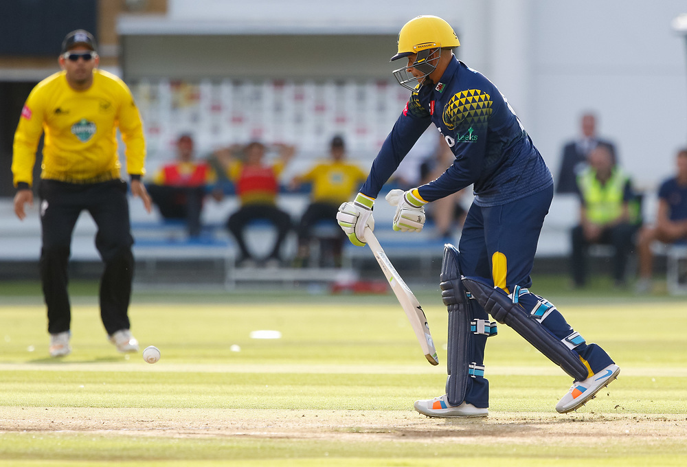 Glamorgan's Usman Khawaja prods at the ball<br /> <br /> Photographer Simon King/Replay Images<br /> <br /> Vitality Blast T20 - Round 8 - Glamorgan v Gloucestershire - Friday 3rd August 2018 - Sophia Gardens - Cardiff<br /> <br /> World Copyright © Replay Images . All rights reserved. info@replayimages.co.uk - http://replayimages.co.uk