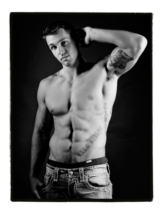 Studio Portrait for male modeling portfolio, athlete, body builder,