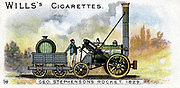 Stephenson's locomotive 'Rocket' which won competition at Rainhill Bridge, Manchester for locomotive to be used on Liverpool & Manchester Railway, 14 October 1829. Chromolithograph 1900.