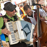 Dan Radlauer (accordion) and Oliver Steinberg (upright base) of Extreme Klezmer Makeover perform at the Santa Monica Farmers Market on Sunday, November 13, 2011.