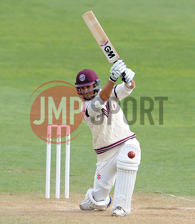 Somerset's Lewis Gregory drives the ball. - Photo mandatory by-line: Harry Trump/JMP - Mobile: 07966 386802 - 28/04/15 - SPORT - CRICKET - LVCC Division One - County Championship - Somerset v Middlesex - Day 3 - The County Ground, Taunton, England.
