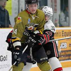 "TRENTON, ON  - MAY 4,  2017: Canadian Junior Hockey League, Central Canadian Jr. ""A"" Championship. The Dudley Hewitt Cup. Game 5 between The Georgetown Raiders and The Powassan Voodoos.  Kyle Challis #14 of the Powassan Voodoos and Austin Cho #20 of the Georgetown Raiders battle behind the net.<br /> (Photo by Amy Deroche / OJHL Images)"