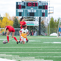 3rd year midfielder Brigit Sinaga (10) of the Regina Cougars in action during the Women's Soccer Home Game on September 23 at U of R Field. Credit Matt Johnson/©Arthur Images 2017