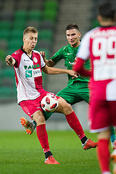 Rok Kidric, Vitaljis Maksimenko during football match between NK Olimpija Ljubljana and Aluminij in Round #9 of Prva liga Telekom Slovenije 2018/19, on September 23, 2018 in Stozice Stadium, Ljubljana, Slovenia. Photo by Morgan Kristan
