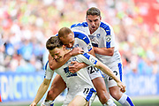 Tranmere Rovers players celebrate after a goal scored by Tranmere Rovers Connor Jennings(11) 1-1 during the Vanarama National League Play Off Final match between Tranmere Rovers and Forest Green Rovers at Wembley Stadium, London, England on 14 May 2017. Photo by Adam Rivers.