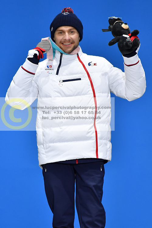 DAVIET Benjamin FRA LW2,  ParaBiathlon, Biathlon, Podium at  the PyeongChang2018 Winter Paralympic Games, South Korea.