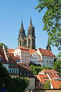 Altstadt mit Albrechtsburg, Meißen, Sachsen, Deutschland. .Albrechtsburg , old town of Meissen, Saxony, Germany.