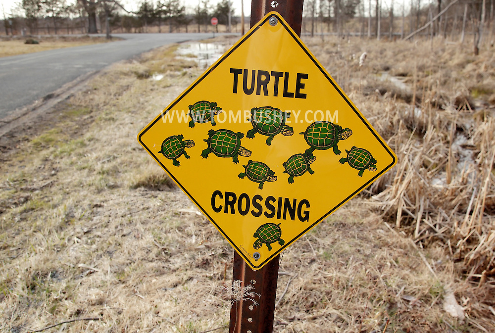 "Washingtonville, New York - A ""turtle crossing"" sign by a wetland marsh on April 3, 2011."