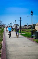 NEW ORLEANS - CIRCA FEBRUARY 2014: Group of friends riding bicycle in the Mississippi River Trail in Algiers Point, a popular community within the city of New Orleans in Louisiana.