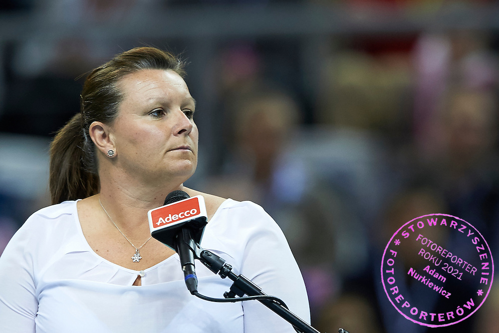 British chair umpire Alison Hughes (former Lang) during Second Day of the Fed Cup / World Group 1st round tennis match between Poland and Russia at Tauron Krakow Arena on February 8, 2015 in Cracow, Poland.<br /> <br /> Poland, Cracow, February 8, 2015<br /> <br /> Picture also available in RAW (NEF) or TIFF format on special request.<br /> <br /> For editorial use only. Any commercial or promotional use requires permission.<br /> <br /> Adam Nurkiewicz declares that he has no rights to the image of people at the photographs of his authorship.<br /> <br /> Mandatory credit:<br /> Photo by &copy; Adam Nurkiewicz / Mediasport