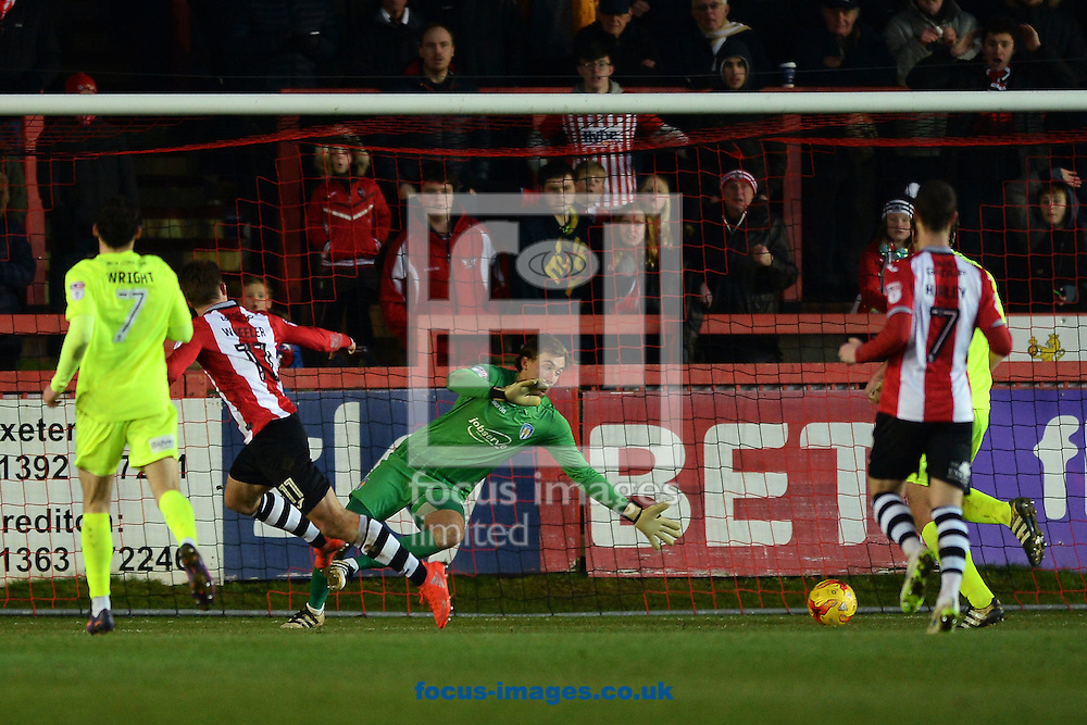 David Wheeler of Exeter City scores his sides second goal to make the scoreline 2-0 during the Sky Bet League 2 match between Exeter City and Colchester United at St James' Park, Exeter<br /> Picture by Richard Blaxall/Focus Images Ltd +44 7853 364624<br /> 21/01/2017
