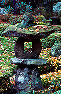 Stone lantern in the Sanzen-in Temple gardens. Sanzen-in Temple was built in 985 by the Tendai priest Genshin. Ohara rural town in northern Kyoto city, Japan