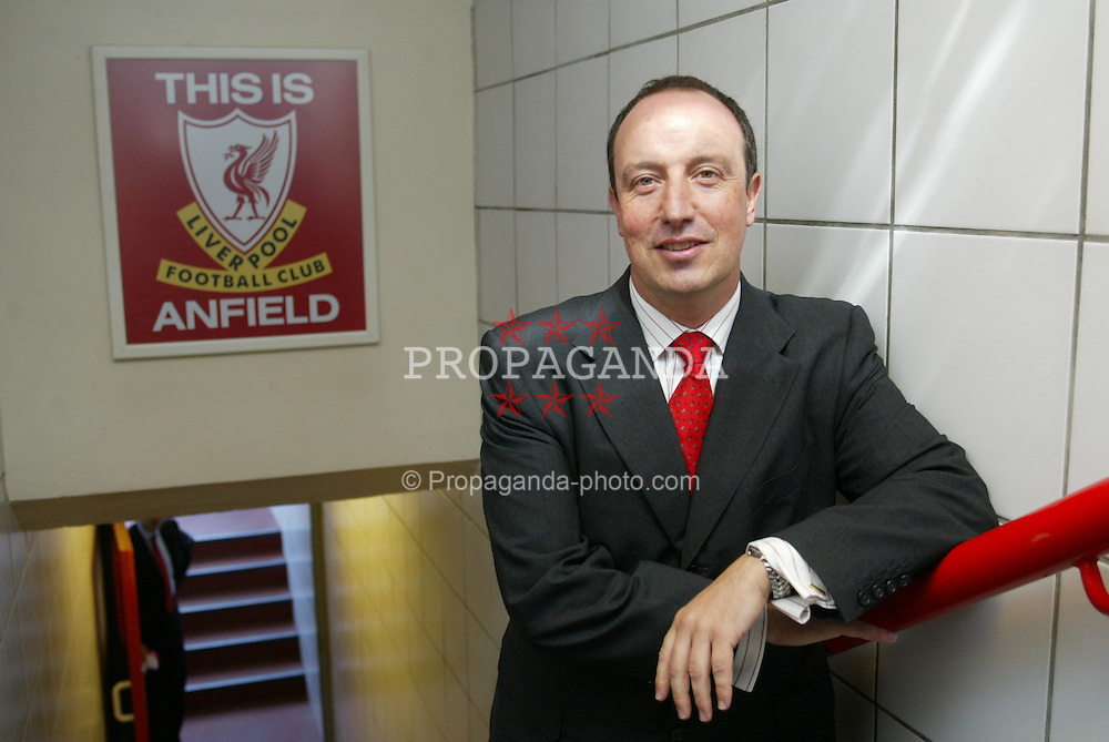 LIVERPOOL, ENGLAND - WEDNESDAY JUNE 16 2004: Rafael Benitez poses for a photograph with the famous 'This is Anfield' sign in the tunnel at Anfield as he is unveiled as Liverpool FC's new manager. (Photo by David Rawcliffe/Propaganda)
