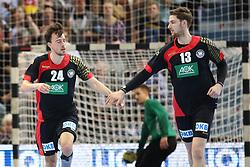 03.04.2016, Schwalbe Arena, Gummersbach, GER, Testspiel, Deutschland vs Oesterreich, im Bild Torjubel von Patrick Groetzki (#24, Deutschland) und Hendrick Pekeler (#13, Deutschland) // during the International Handball Friendly Match between Germany and Austria at the Schwalbe Arena in Gummersbach, Germany on 2016/04/03. EXPA Pictures © 2016, PhotoCredit: EXPA/ Eibner-Pressefoto/ Deutzmann<br /> <br /> *****ATTENTION - OUT of GER*****