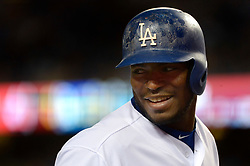 April 14, 2017 - Los Angeles, California, U.S. - Los Angeles Dodgers' Yasiel Puig smiles in the second inning of a Major League baseball game against the Arizona Diamondbacks at Dodger Stadium on Friday, April 14, 2017 in Los Angeles. (Photo by Keith Birmingham, Pasadena Star-News/SCNG) (Credit Image: © San Gabriel Valley Tribune via ZUMA Wire)