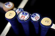 PHOENIX, AZ - AUGUST 31:  Adrian Gonzalez #23 of the Los Angeles Dodgers bats as they sit in the bat rack in the dugout for the game against the Arizona Diamondbacks at Chase Field on August 31, 2017 in Phoenix, Arizona.  (Photo by Jennifer Stewart/Getty Images)