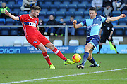 Shaun Brisley of Carlisle United (15) clears the ball away from Luke O'Nien of Wycombe Wanderers (17) during the EFL Sky Bet League 2 match between Wycombe Wanderers and Carlisle United at Adams Park, High Wycombe, England on 18 February 2017. Photo by Andy Handley.