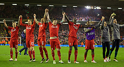 LIVERPOOL, ENGLAND - Thursday, April 14, 2016: Liverpool players celebrate the incredible 4-3 (5-4 aggregate) victory over Borussia Dortmund during the UEFA Europa League Quarter-Final 2nd Leg match at Anfield. Philippe Coutinho Correia, Lucas Leiva, Nathaniel Clyne, Alberto Moreno, Mamadou Sakho, Sheyi Ojo.  (Pic by David Rawcliffe/Propaganda)